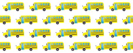 Seamless pattern with yellow school bus on white background. Back to school backdrop. Hand drawn transportation objects for kids or pupils. Textile or fabric template