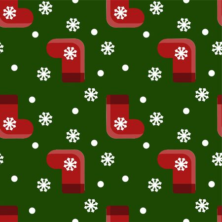 Vector seamless pattern with red christmas gift socks and snowlakes on green background. Template for wrapping paper, gift, fabric or textile. New year decoration object. Festive backdrop. Flat icons