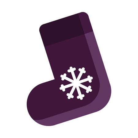 Vector illustration of purple christmas gift sock with a snowflake isolated on white background. New Year festive decorative object. Christmas eve flat icon. Gift, greeting card print template.