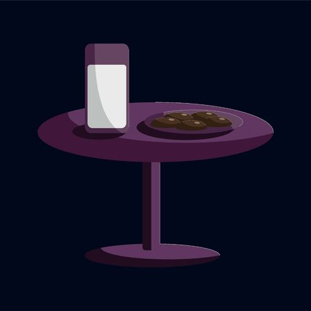 Vector illustration of flat cookies and glass og milk for Santa. Purple table in the night dark room. New Year festive object or icon. Gift, greeting card print template.