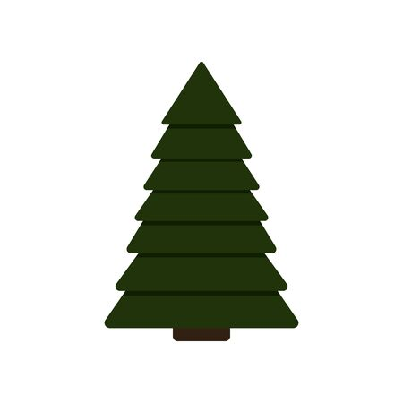 Vector illustration of christmas fir tree isolated on white background. New Year festive object. Christmas eve flat icon. Gift, greeting card print template.