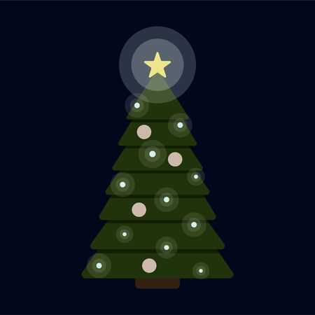 Vector illustration of brightly lit decorated christmas fir tree isolated on dark blue background. New Year festive flat icon with shining star, garland lights and ornaments. Gift print template. Illustration