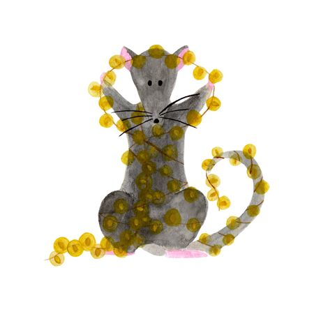 Watercolor illustration of Christmas rat holding bright garland lights. Hand drawn 2020 symbol animal isolated on white background. Zodiac rat holding string with small yellow lamps. New Year template