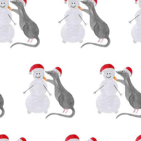 Seamless pattern with Christmas rat building snowman. Template for fabric, greeting card, calendar, wrapping paper print. New year festive hand drawn illustration of zodiac 2020 symbol animal Stock fotó