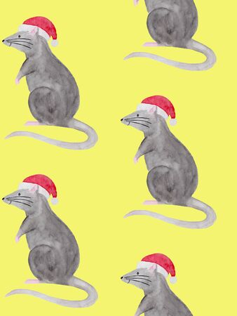 Watercolor illustration of rat wearing red christmas hat. Template for fabric, greeting card, calendar, wrapping paper print. New year festive hand drawn illustration of zodiac 2020 symbol animal