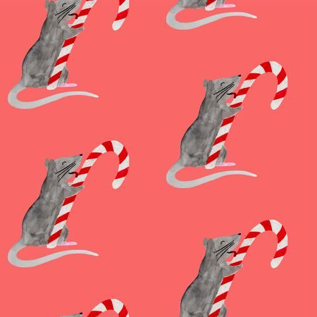 Seamless pattern with Christmas rat licking candy cane. Watercolor illustration of Zodiac rat on red background. New Year template for wrapping paper, fabric or textile. Hand drawn 2020 symbol animal