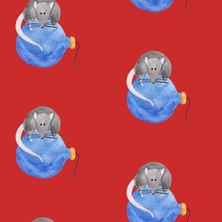 Seamless watercolor pattern with christmas rat sitting on blue ornament ball. Template for fabric, wrapping paper print. New year festive backdrop. Hand drawn illustration of zodiac 2020 symbol animal Фото со стока