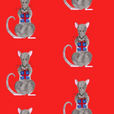 Seamless pattern with Christmas rat holding gift box. Template for fabric, greeting card, calendar, wrapping paper print. New year festive hand drawn illustration of zodiac 2020 symbol animal Stock fotó