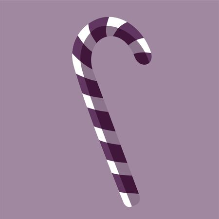 Vector illustration of candy cane sweet stick. Christmas or New Year festive flat icon. White cane with purple stripes isolated on purple background. Gift or greeting card print template 写真素材