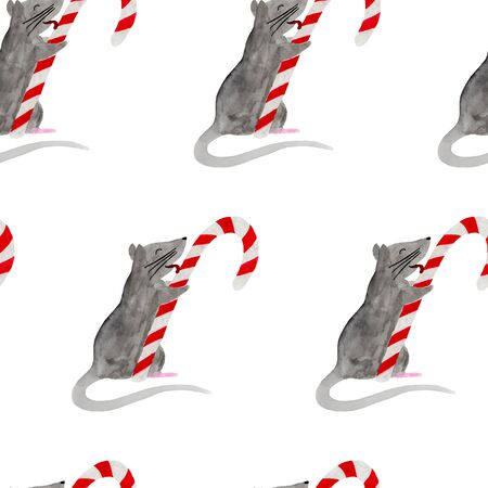 Seamless pattern with Christmas rat licking candy cane. Watercolor illustration of Zodiac rat on white background. New Year wrapping paper, fabric or textile template. Hand drawn 2020 symbol animal