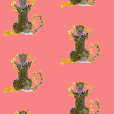 Seamless pattern with Christmas rat holding bright garland lights. Watercolor illustration of Zodiac animal on pink or red background. New Year wrapping paper, fabric template. Hand drawn 2020 symbol