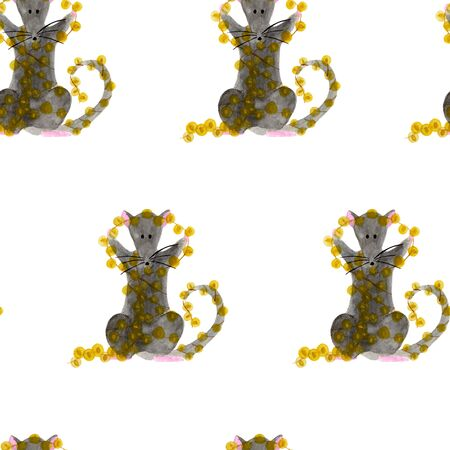 Seamless pattern with Christmas rat holding bright garland lights. Watercolor illustration of Zodiac animal on white background. New Year wrapping paper, fabric template. Hand drawn 2020 symbol Stock fotó