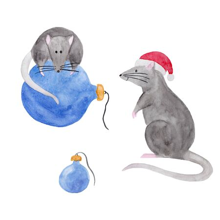 Watercolor set of Christmas rats isolated on white background. Hand drawn 2020 symbol animal. Zodiac rat in red Christmas hat and on blue ornament. New Year postcard, poster, calendar, textile print.
