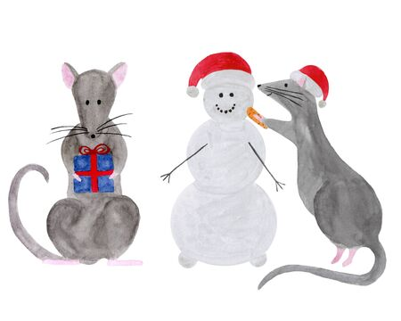 Watercolor set of Christmas rats isolated on white background. Hand drawn 2020 symbol animal. Zodiac rat building snowman and holding gift box. New Year greetinng card, poster, calendar, textile print