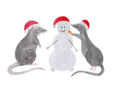 Watercolor set of Christmas rats isolated on white background. Hand drawn 2020 symbol animal. Zodiac rat in red Christmas hat building snowman. New Year greeting card, poster, calendar, fabric print. 写真素材