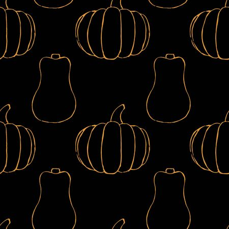 Vector seamless pattern with hand drawn outline pumpkins. Garden vegetable background. Template for fabric, wrapping paper, harvest festival or halloween decoration. Contour image