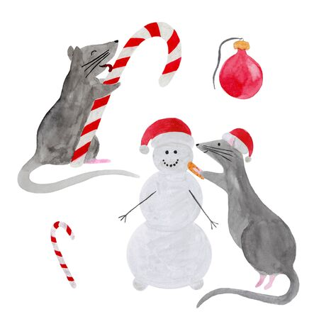 Watercolor set of Christmas rats isolated on white background. Hand drawn 2020 symbol animal. Zodiac rat licking candy cane and building snowman. New Year postcard, poster, calendar, textile print.