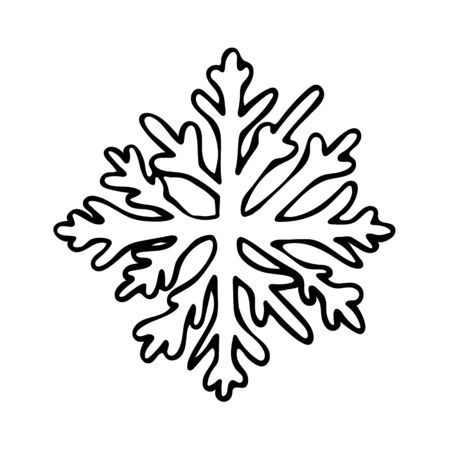 Vector hand drawn outline illustration of snowflake. Black contour doodle in line art style. Winter, New Year and Christmas symbol. Coloring book design element. Poster or greeting card template
