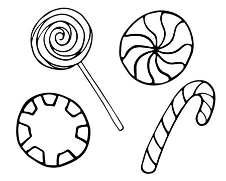 Vector hand drawn outline illustration of sweet candies. Set of candy cane, lolipop, twisted caramels. Black contour doodle in line art style. New Year, Christmas treat. Poster, greeting card template
