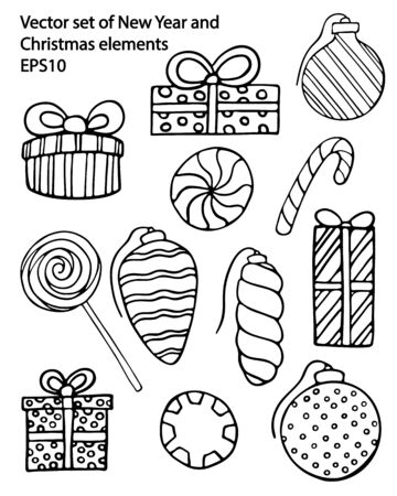 Vector hand drawn outline set of New Year and Christmas gift boxes, ornaments, candies, lollipops. Black contour doodle, line art. Coloring book decorative design elements. Greeting card templates
