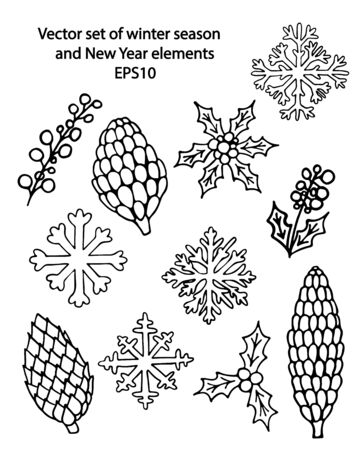 Vector hand drawn outline set of New Year and Christmas winter cones, snowflakes and holly berries. Black contour doodle, line art. Coloring book decorative design elements. Greeting card templates Stock Illustratie