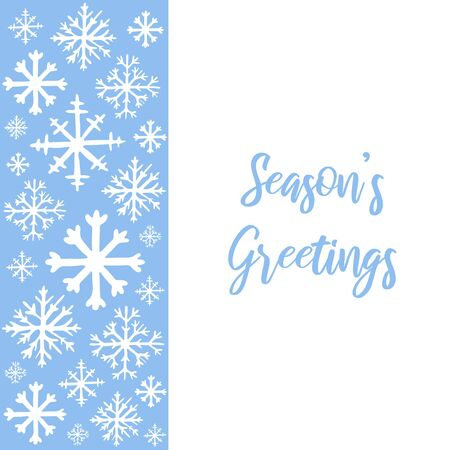 Vector hand drawn background with white snowflakes on blue background and copy space for text. Seasons greetings hand lettered text. Winter, New Year and Christmas template for greeting card, poster