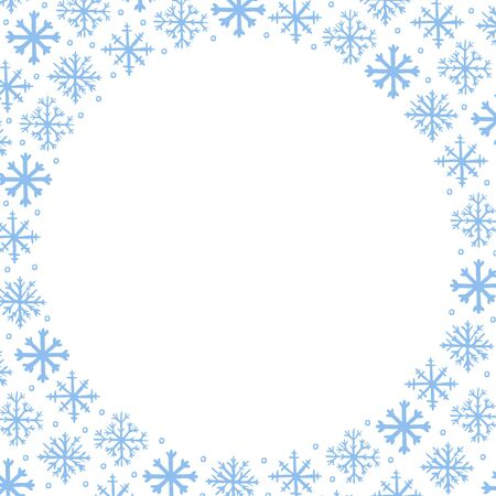 Vector winter frame background with blue hand drawn snowflakes on white background. Copy space for text. Winter, New Year and Christmas design element, square template for greeting card, poster