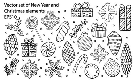 Vector hand drawn outline big set of New Year and Christmas gift box, ornament, candy, lollipop, cone, snowflake and holly berry. Coloring book decorative design elements. Greeting card templates