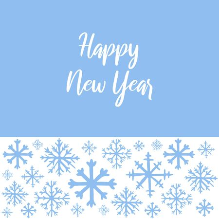 Vector hand drawn background with white snowflakes on blue background and copy space for text. Happy New Year hand lettered text. Winter, New Year and Christmas template for greeting card, poster