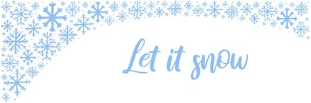 Vector hand drawn horizontal banner with blue snowflakes on white background and copy space. Let it snow hand lettered text. Winter, New Year and Christmas template for bookmark, banner, poster
