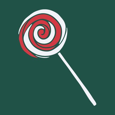 Vector hand drawn doodle illustration of sweet candy or lollipop. Red and white treat on dark green background. Design element, poster or greeting card template