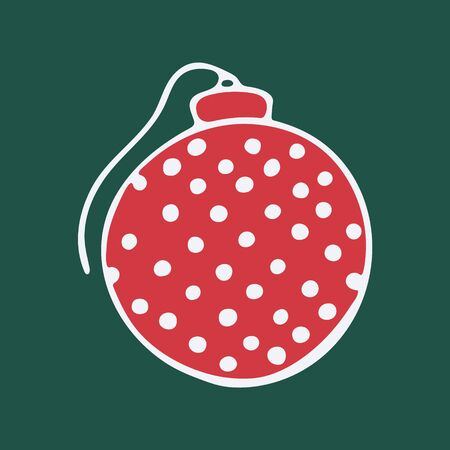 Vector hand drawn doodle illustration of Christmas tree ornament. New Year and Christmas tree decoration isolated on dark green background. Design element, poster or greeting card template Illusztráció