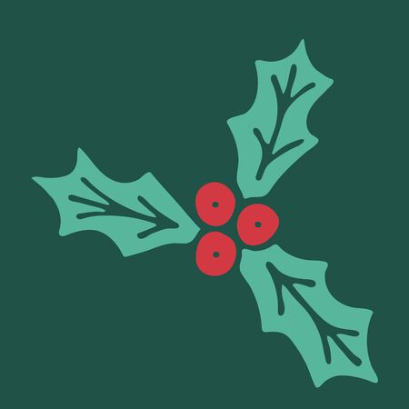 Vector hand drawn doodle illustration of Christmas holly berry. Red berries with green leaves on dark green background. New Year, Christmas decoration, design element. Poster or greeting card template