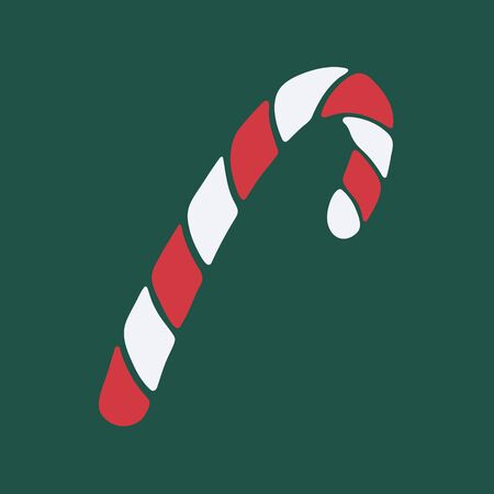 Vector hand drawn doodle illustration of sweet candy cane. New Year and Christmas red and white treat on dark green background. Design element, poster or greeting card template