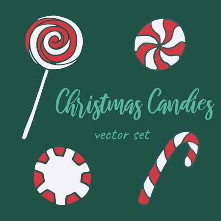 Vector hand drawn doodle illustration of sweet candies. Set of candy cane, lollipop, twisted caramels. New Year and Christmas treat. Design element, poster or greeting card template