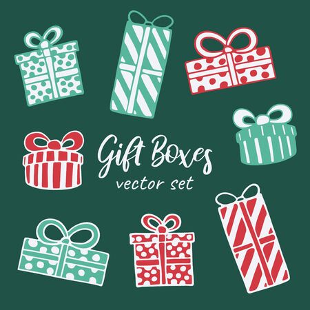 Vector hand drawn doodle illustration of Christmas gift boxes set. New Year and Christmas presents in dotted and striped wrapping paper with a bow. Design element, poster or greeting card template Stock Illustratie