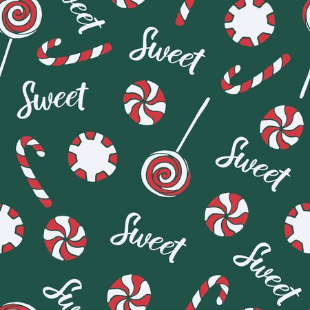 Vector seamless pattern with hand drawn christmas candies on dark green background. New Year and Christmas red and white sweet treats. Fabric, textile print, poster or greeting card template Illusztráció