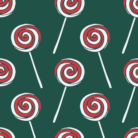Vector seamless pattern with hand drawn christmas candies on dark green background. New Year and Christmas red and white sweet treats. Fabric, textile print, poster or greeting card template Stock fotó