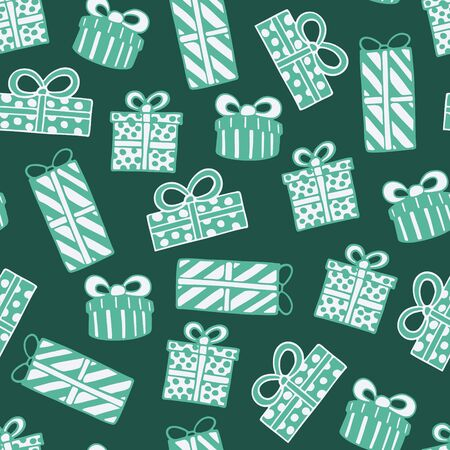 Seamless pattern with hand drawn doodle illustration of Christmas gift boxes. New Year and Christmas vector presents. Festive fabric. textile print template, design element, poster or greeting card Foto de archivo - 133695689