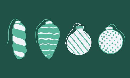 Vector hand drawn doodle illustration of Christmas tree ornaments set. New Year and Christmas tree decoration isolated on dark green background. Design element, poster or greeting card template
