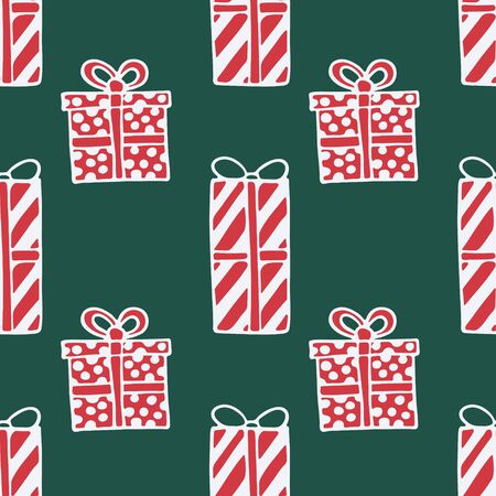 Seamless pattern with hand drawn doodle illustration of Christmas gift boxes. New Year and Christmas vector presents. Festive fabric. textile print template, design element, poster or greeting card Foto de archivo - 133695732