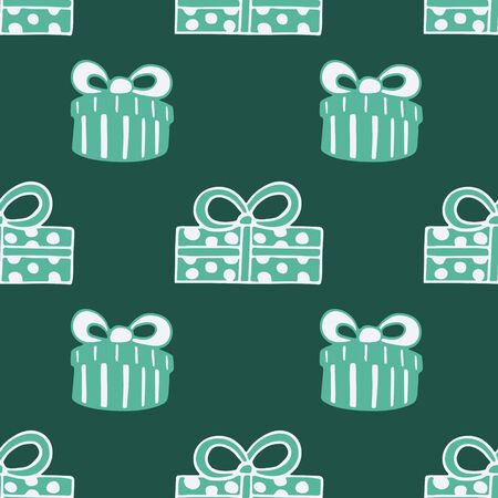 Seamless pattern with hand drawn doodle illustration of Christmas gift boxes. New Year and Christmas vector presents. Festive fabric. textile print template, design element, poster or greeting card Foto de archivo - 133695749