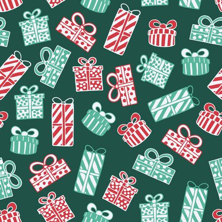 Seamless pattern with hand drawn doodle illustration of Christmas gift boxes. New Year and Christmas vector presents. Festive fabric. textile print template, design element, poster or greeting card Foto de archivo - 133695751