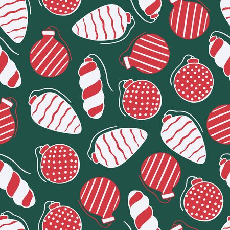 Seamless pattern with hand drawn doodle illustration of Christmas tree ornaments. New Year and Christmas tree vector decoration on dark green background. Fabric, textile print, greeting card template Illusztráció