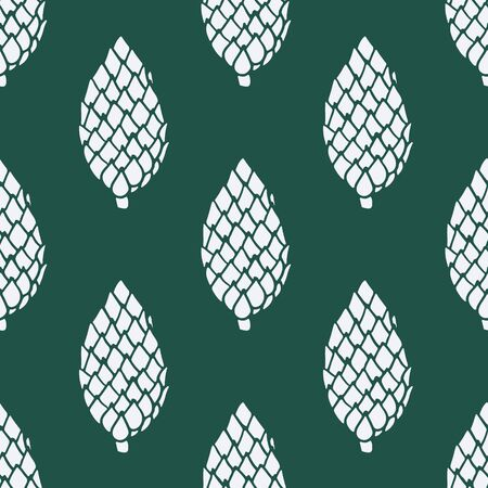Seamless pattern with hand drawn doodle pine and fir conifer cones. Vector winter decoration with white drawing on dark green background. New Year and Christmas poster, textile, fabric print template Ilustração