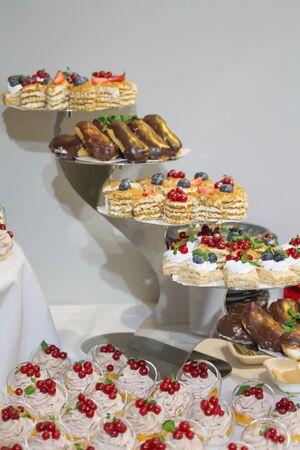 Minikuchen verziert mit Schlagsahne und frischer roter Johannisbeere. Süße leckere Snacks auf der Party. Food-Fotografie. Viele Gebäckstücke auf dem Teller. Catering-Service Standard-Bild