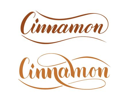 Vector hand written cinnamon text isolated on white background. Kitchen healthy herbs and spices for cooking. Script brushpen lettering with flourishes. Handwriting for banner, poster, product label Ilustração
