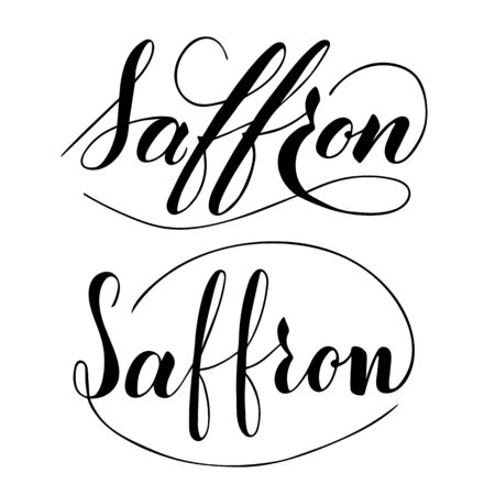 Vector hand written saffron text isolated on white background. Kitchen healthy herbs and spices for cooking. Script brushpen lettering with flourishes. Handwriting for banner, poster, product label