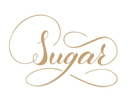 Vector hand written sugar text isolated on white background. Kitchen sweet spices for cooking. Script brushpen lettering with flourishes. Handwriting for banner, poster, product label