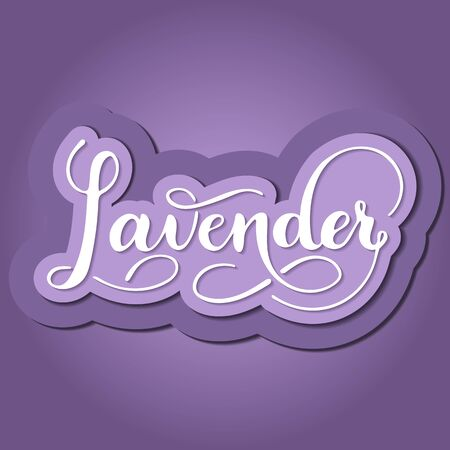Vector paper cut illustration of hand written lavender text. 3d paper art. Kitchen healthy herbs and spices. Script brushpen lettering with flourishes. Handwriting for banner, poster, product label Ilustracja